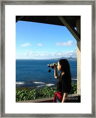 Pretty Girl Looking Through Binoculars Framed Print by Yali Shi