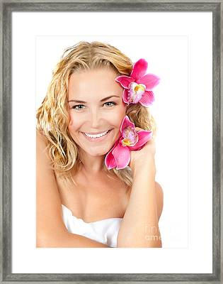 Pretty Girl With Pink Flowers Framed Print