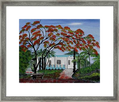 Pretty In Red Framed Print by Gloria E Barreto-Rodriguez