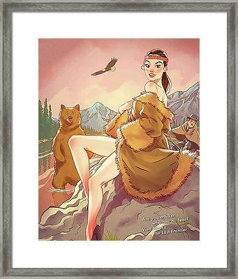 Pretty Indian Girl In A Company Of A Bear Framed Print