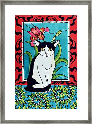 Framed Print featuring the painting Pretty Me In Tuxedo by Dora Hathazi Mendes