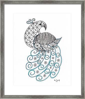 Pretty Peacock Framed Print by Paula Dickerhoff