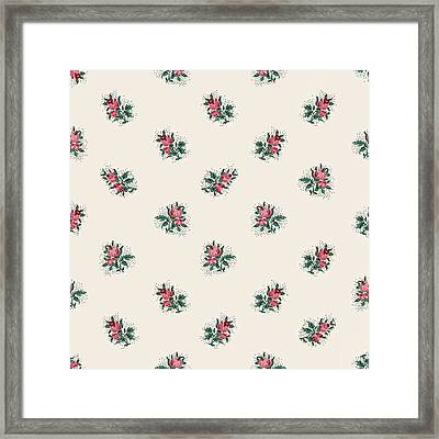 Framed Print featuring the digital art Pretty Pink Roses Girly Vintage Wallpaper Pattern by Tracie Kaska