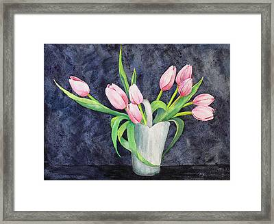 Pretty Pink Tulips Framed Print by Dee Carpenter