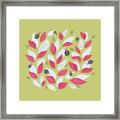 Pretty Plant With White Pink Leaves And Ladybugs Framed Print