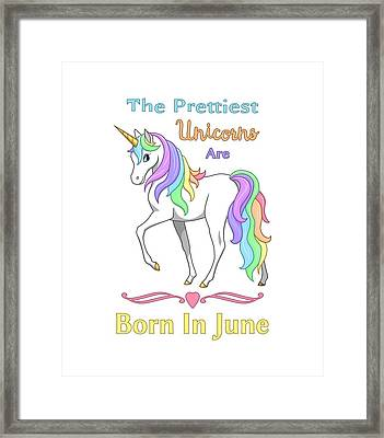 Pretty Rainbow Unicorn Born In June Birthday Framed Print by Crista Forest