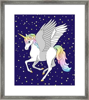 Pretty Rainbow Unicorn Flying Horse Framed Print