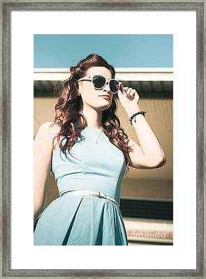 Pretty Retro Pin-up Woman In Blue Fifties Fashion Framed Print