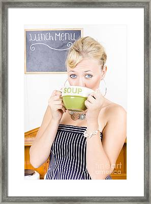 Pretty Retro Woman Drinking Hot Cup Of Soup Framed Print by Jorgo Photography - Wall Art Gallery
