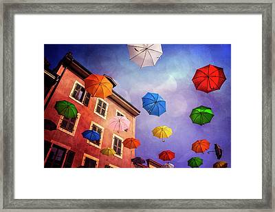 Pretty Umbrellas In Carouge Geneva  Framed Print