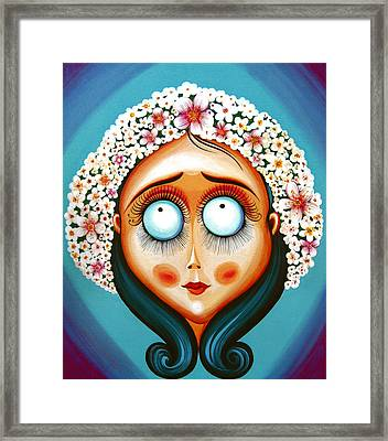 Pretty With Wreath Of Flowers - Acrylic Painting On Canvas Framed Print by Tiberiu Soos