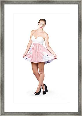 Pretty Woman In Curtsy Pose Wearing Pink Dress Framed Print by Jorgo Photography - Wall Art Gallery