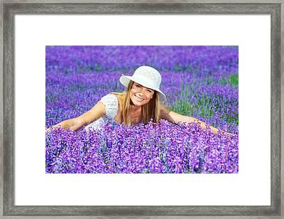 Pretty Woman On Lavender Field Framed Print by Anna Omelchenko