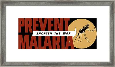 Prevent Malaria - Shorten The War  Framed Print by War Is Hell Store