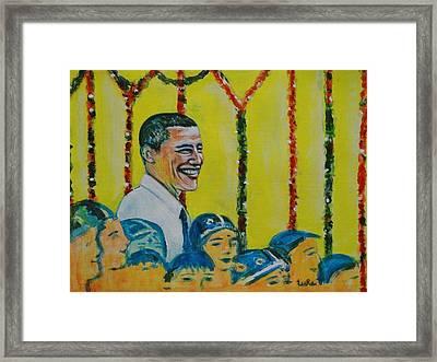 Prez Obama With Children Framed Print by Usha Shantharam