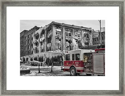 Pride, Commitment, And Service -after The Fire Framed Print
