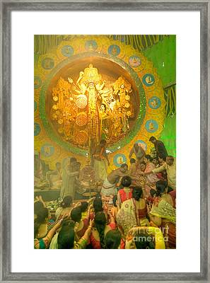 Priest Distributing Flowers For Praying To Goddess Durga Durga Puja Festival Kolkata India Framed Print