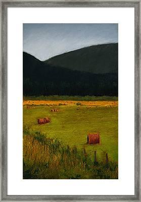 Priest Lake Hay Bales Framed Print