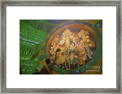 Priest Praying To Goddess Durga Durga Puja Festival Kolkata India Framed Print