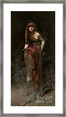 Priestess Of Delphi Framed Print by John Collier