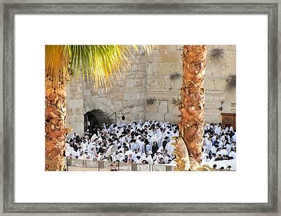 Prayer Of Shaharit At The Kotel During Sukkot Festival Framed Print by Yoel Koskas