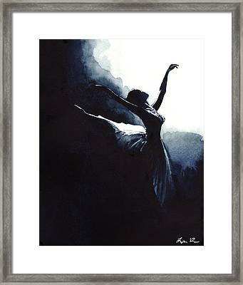 Prima Ballerina Tutu Swan Lake Pointe White Swan Black Swan Framed Print by Laura Row