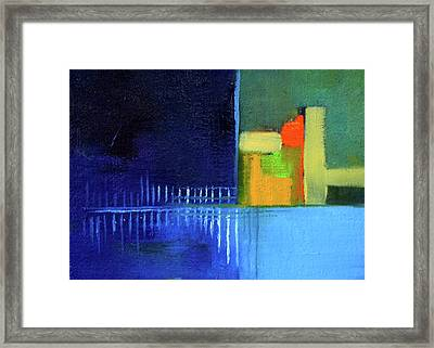 Framed Print featuring the painting Primary Blue Abstract by Nancy Merkle