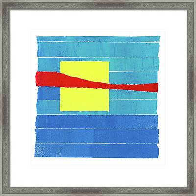 Primary Stripes Collage Framed Print by Carol Leigh