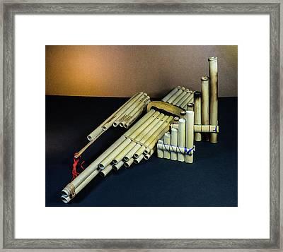 Primative Pan Pipes On Display Framed Print by Douglas Barnett