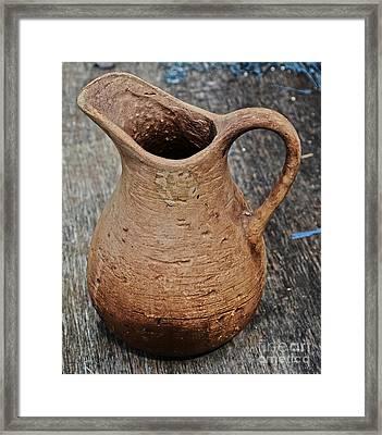 Primitive Clay Pitcher Framed Print by JW Hanley