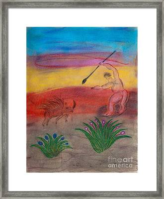 Primitive Man Hunting Framed Print by Robyn Louisell