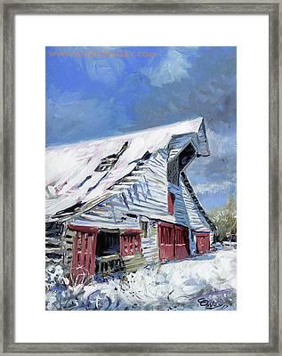 Primm Barn In Snow Framed Print