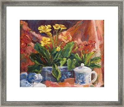 Primroses And Blue China Framed Print by Jimmie Trotter
