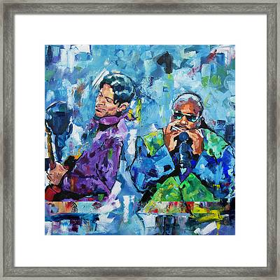 Prince And Stevie Framed Print