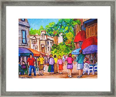 Framed Print featuring the painting Prince Arthur Street Montreal by Carole Spandau