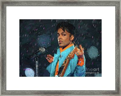 Prince In Concert At The Super Bowl Framed Print