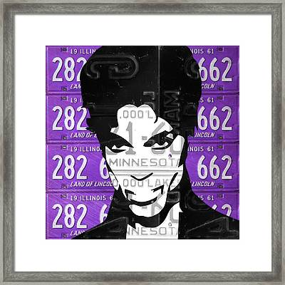 Prince Musician Portrait Made From Vintage Recycled Minnesota And Purple License Plates Framed Print