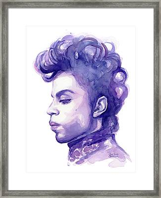 Prince Musician Watercolor Portrait Framed Print by Olga Shvartsur