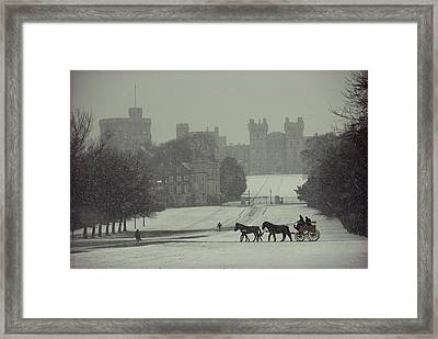 Prince Philip Of England Drives A Coach Framed Print