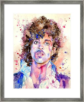 Prince Rogers Nelson Watercolor Framed Print