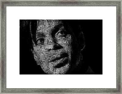 Prince Text Portrait - Typographic Face Poster With The Recorded Album Names Framed Print by Jose Elias - Sofia Pereira