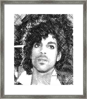 Prince - Tribute Sketch In Black And White 3 Framed Print