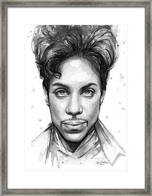 Prince Watercolor Portrait Framed Print by Olga Shvartsur