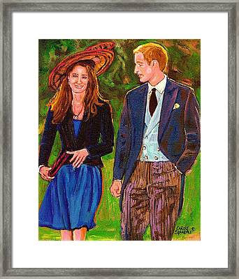 Prince William And Kate The Young Royals Framed Print by Carole Spandau
