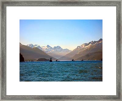 Framed Print featuring the photograph Prince William Sound Fishing Seiners by Adam Owen