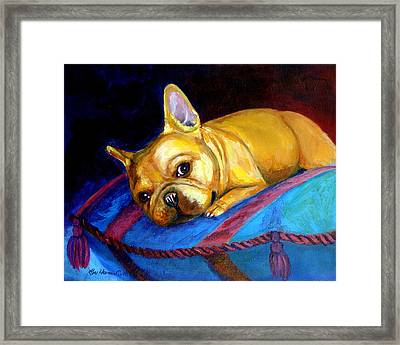Princess And Her Pillow French Bulldog Framed Print