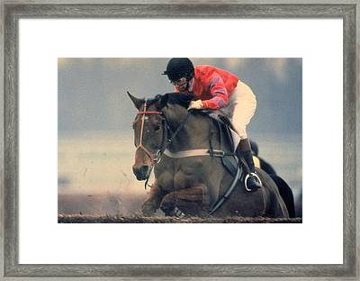 Princess Anne Riding Cnoc Na Cuille At Kempten Park Framed Print
