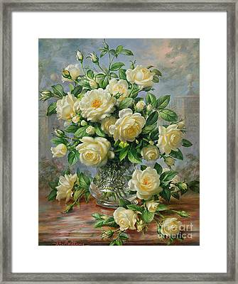Princess Diana Roses In A Cut Glass Vase Framed Print by Albert Williams