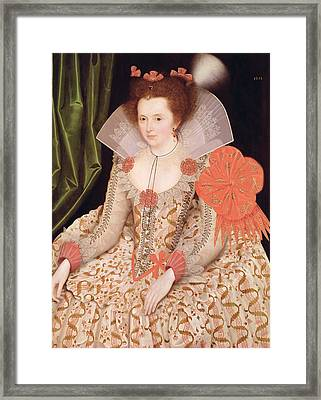 Princess Elizabeth The Daughter Of King James I Framed Print by Marcus Gheeraerts