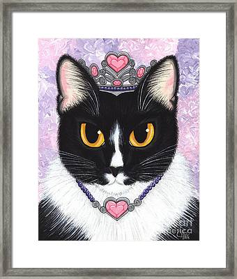 Framed Print featuring the painting Princess Fiona -tuxedo Cat by Carrie Hawks